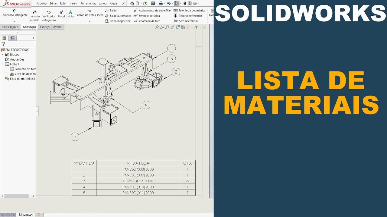 SOLIDWORKS   COMO CRIAR LISTA DE MATERIAIS AUTOMATICAMENTE #solidworks