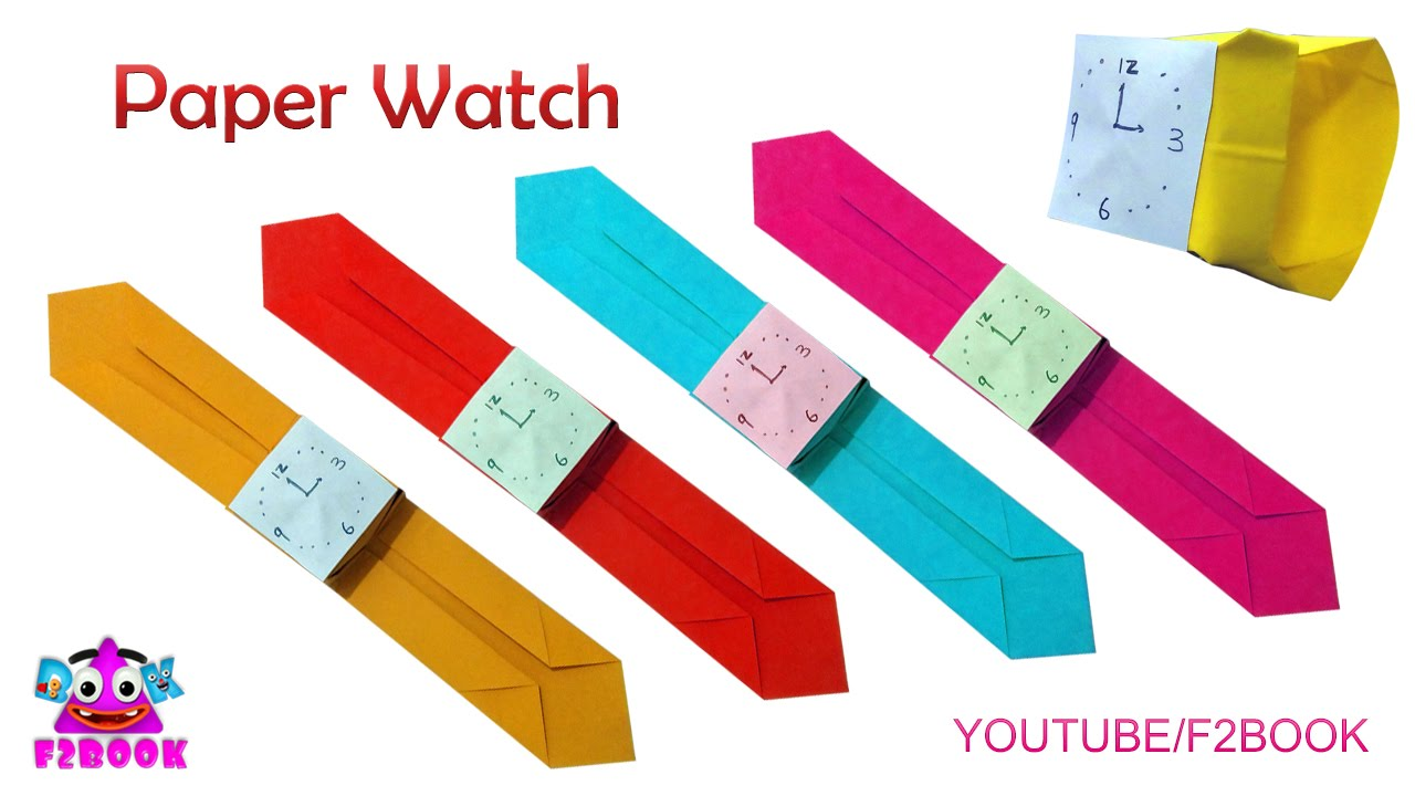 Papercraft Childrens Craft Paper Watch || Easy Make Watch || Origami For Kids F2BOOK Video 162