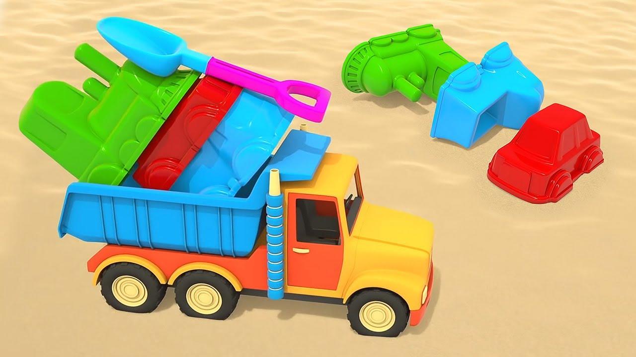 Um caminhão de areia. Aprenda cores com objetos de areia.Coleção dos desenhos animados