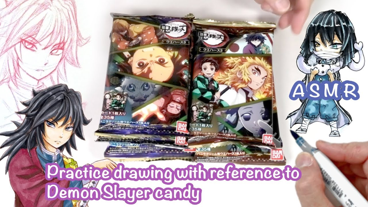 ASMR/Unpacking Demon Slayer wafers and Practice drawing while referencing to it/Copic