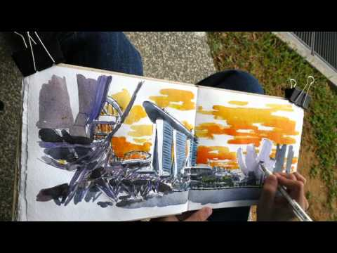 Helix Bridge Timelapse Sketch (19 Feb 2016)
