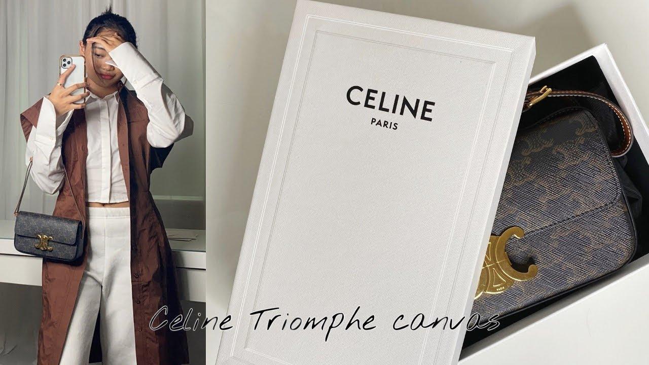 Unboxing \u0026 review CELINE TRIOMPHE CANVAS SHOULDER BAG!
