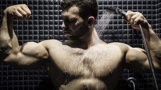 YOUNG MUSCLE GOD IN SHOWER | AWESOME FLEXING SHOW WITH WET MUSCLES