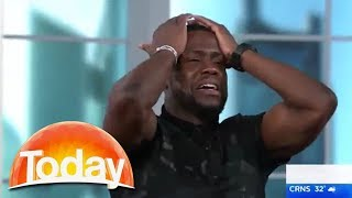 Kevin Hart freaks out over snake on Australian TV show