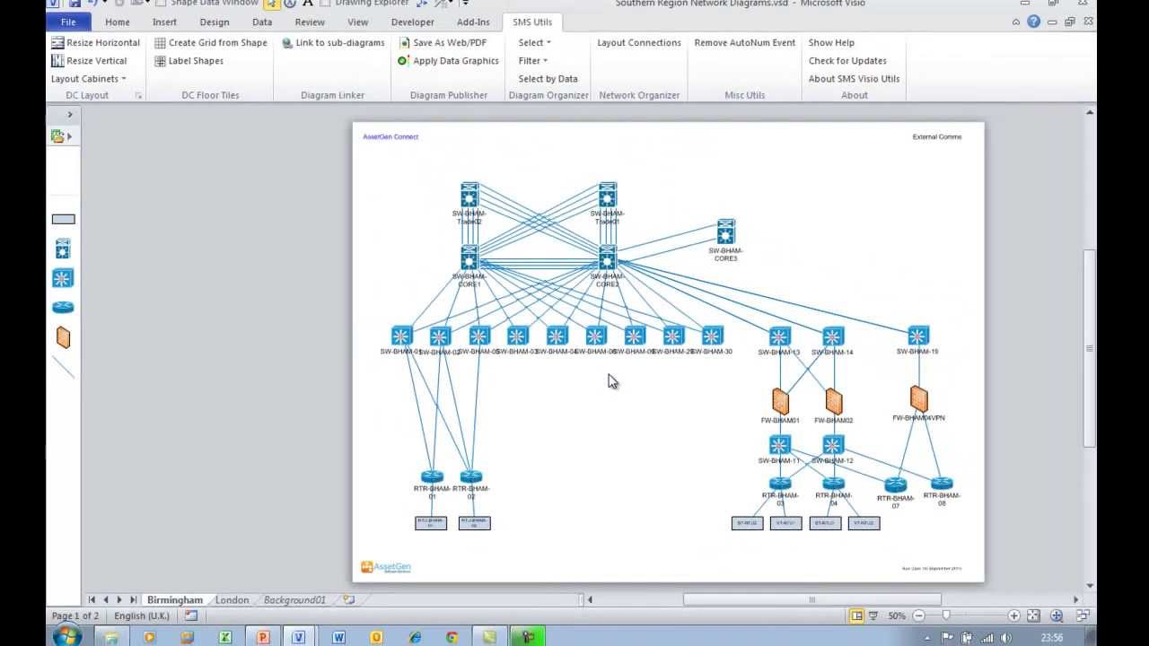 """Easily Creating Visio Diagram """"drill Down"""" Hyperlinks To Sub"""