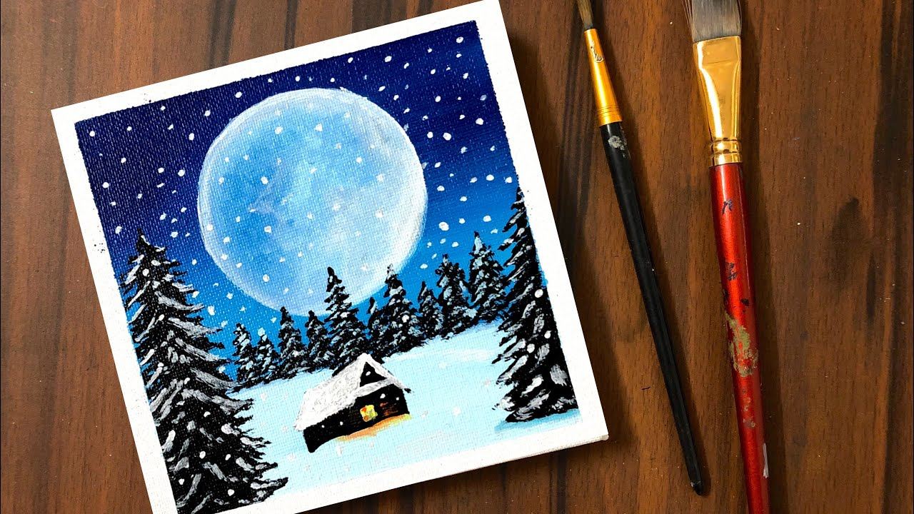Falling Snow | Acrylic Painting of Snowy Winter Night | Step by Step |  Daily Art #20