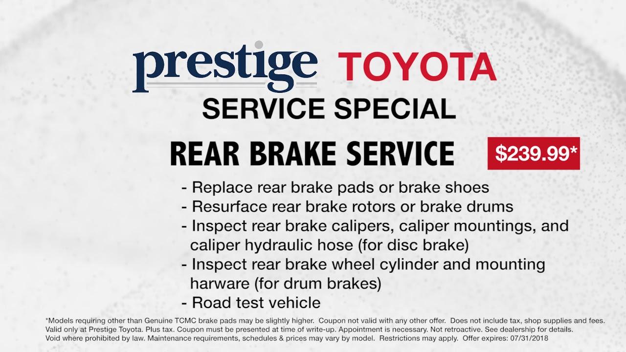 Prestige Toyota Of Ramsey Service July Rear Brake Special