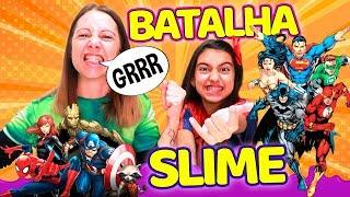 SUPER BATALHA DE SLIME DE SUPER HERÓIS #5 - ( SLIME CHALLENGE ) - Julia Moraes