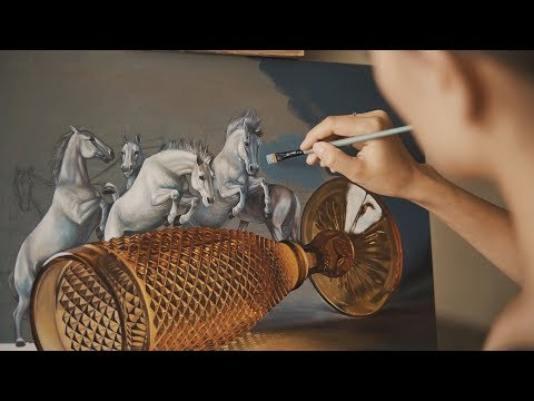 Супер Картина маслом. Реализм в сюрреализме . Лошади с бокалом.