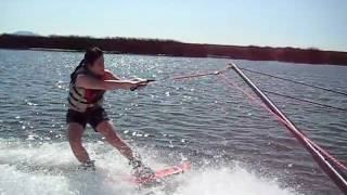 my first time wakeboarding by holding the rope