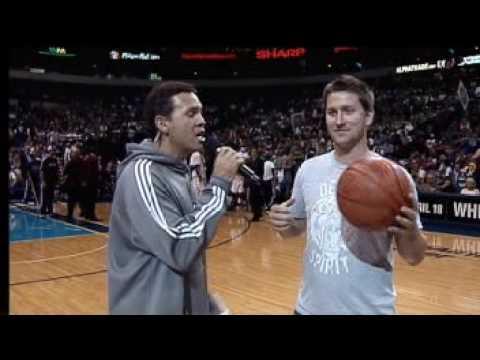 Fan Hits 4 Amazing Shots - ALL SWISH - Half Court, 3 pointer, Free throw, layup at Dallas Mavericks