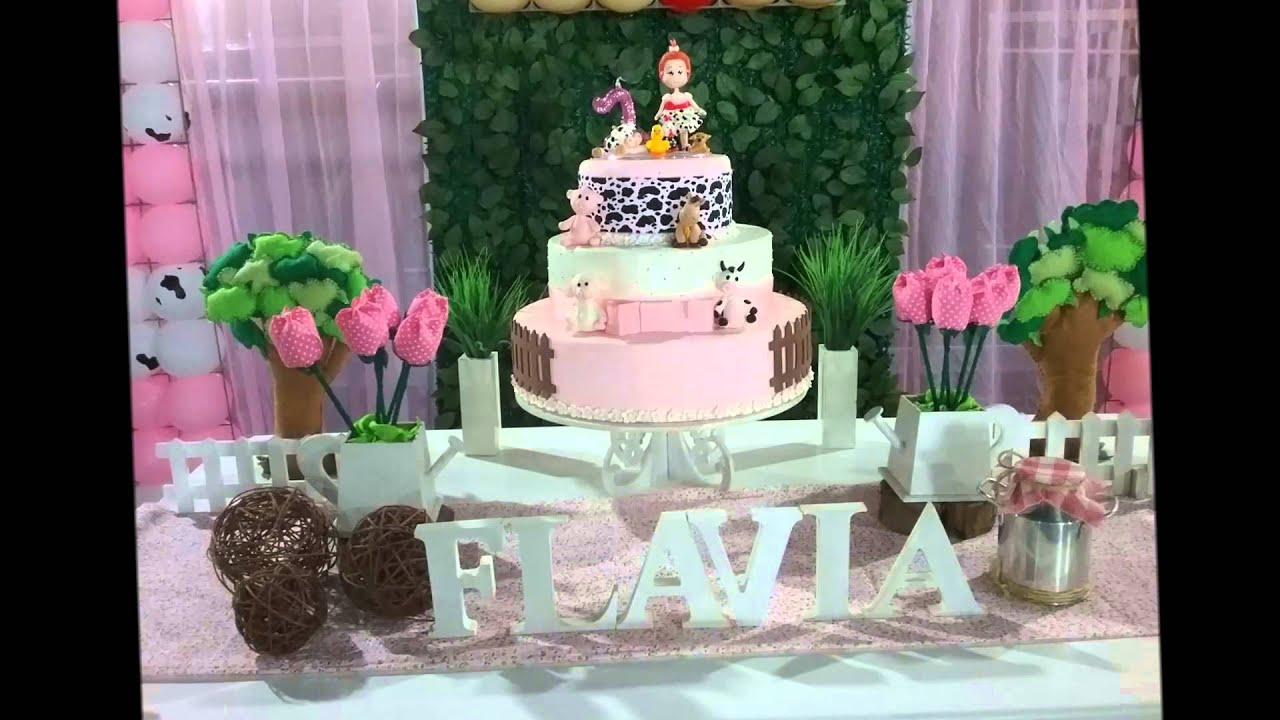 Decoracao Yotube ~ Decoraç u00e3o para festa infantil Fazendinha Rosa YouTube