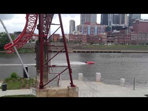 Race boat feeling out the Nashville waterfront