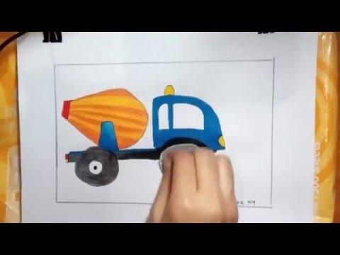 รถโม่ปูน สิบล้อ วาดภาพระบายสี