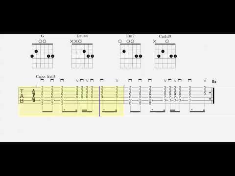 Guitar Tab - Cruise - Chord Practice - Play Along - Capo 3
