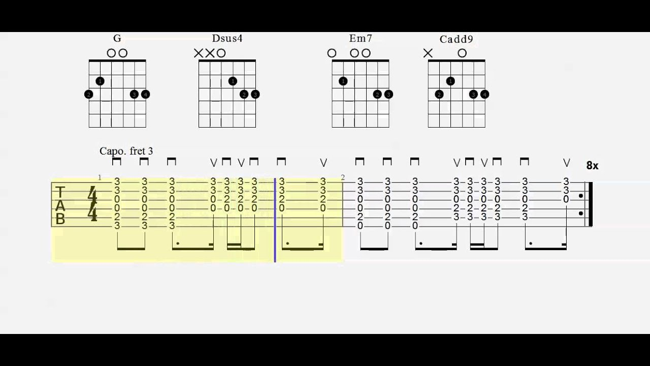 Guitar Tab Cruise Chord Practice Play Along Capo 3 Youtube