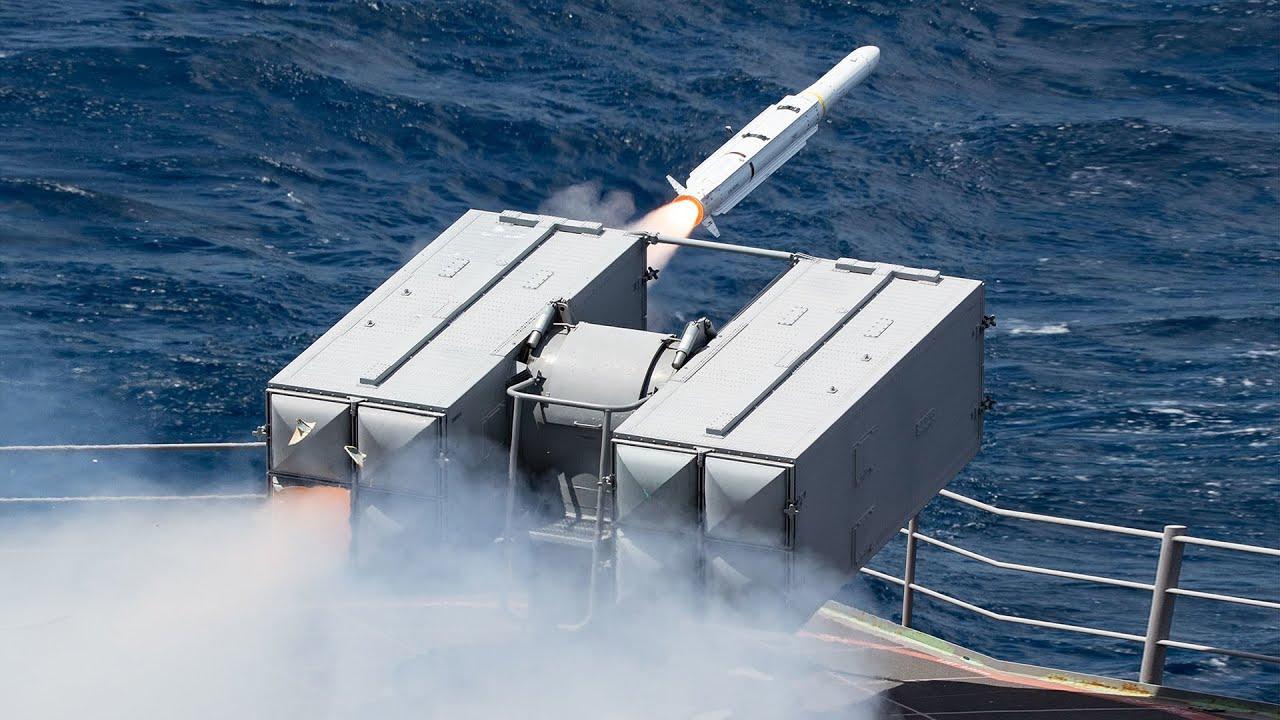 Mk-29 Sea Sparrow Missile Launcher - RIM-162 ESSM & RIM-7P During Sea Trials