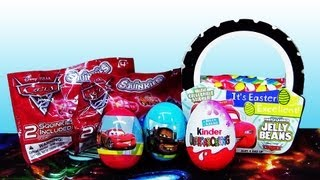 Opening Kinder Surprise Egg Disney Cars 2 Squinkies Mystery Bags Easter Holiday Edition
