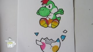 How to draw Paper Mario: Yoshi [real time]
