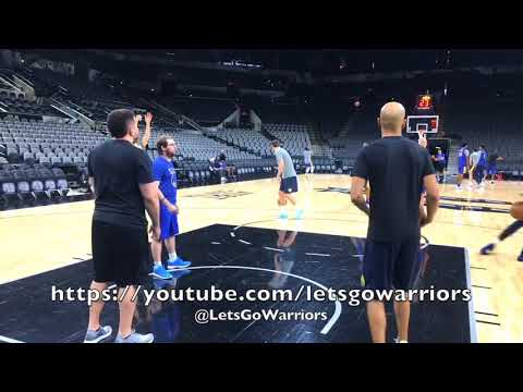Klay Thompson and Kevin Durant shooting after practice, day before Game 3