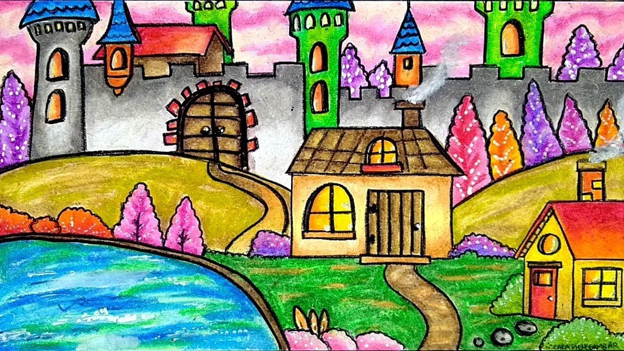 Cara Menggambar Dan Mewarnai Pemandangan Rumah Kastil
