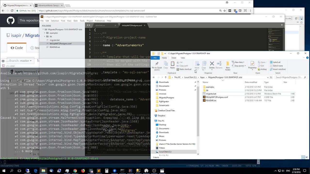 How to easily migrate MS SQL Server database to Postgres