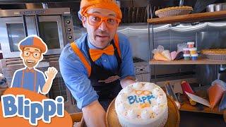Blippi Bakes a Birthday Cake! Blippi Visits a Bakery | Educational Videos For Kids