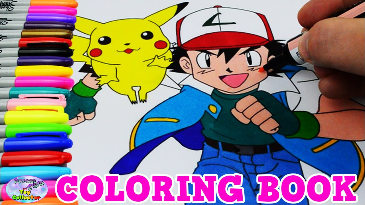 Pokemon Coloring Book Colors Episode Pikachu Ash Speed Colouring Surprise Egg And Toy Collector SETC