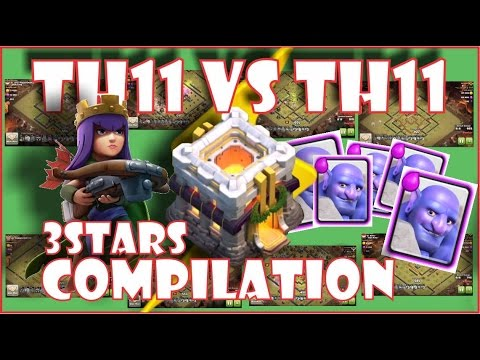 Compilation 3 Star Th11 Bowler Attack Strategy 2017