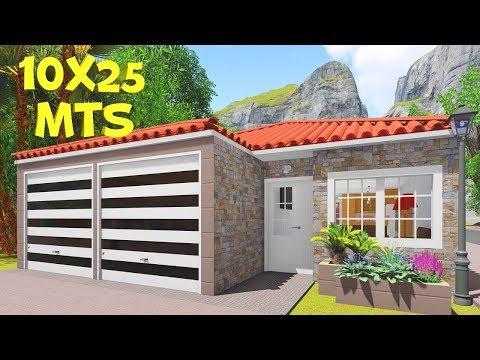 Plano De Casa Para Terreno De 10x25 Metros Con 3 Dormitorios Y Piscina