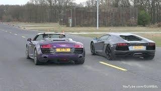 Audi R8 V10 Spyder 'Shmee150' vs Lamborghini Aventador LP700-4 !