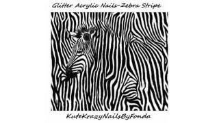 Glitter Acrylic Nail Art Tutorial (2 MIN) - Zebra Stripe by Fonda