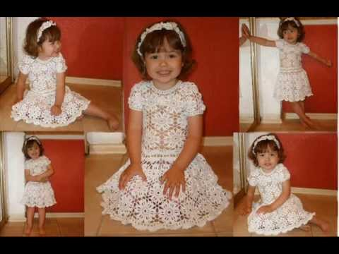 how to crochet dress for girl free pattern - YouTube