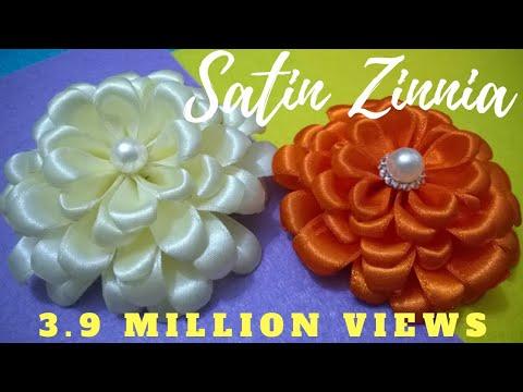 DIY Satin Zinnia Flower - Tutorial MyInDulzens - YouTube