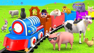 Monkey Train Ride in Forest with Wild Animals Elephant & Tiger   3D Cartoon Animals Videos