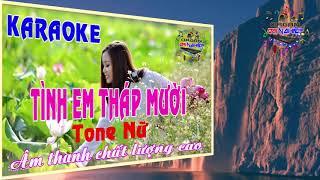Karaoke Tình em Tháp Mười Tone nữ Beat organ Đại Nghiệp YouTube