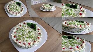 """Вкусный салат на праздничный стол """"Ирина"""" с курицей и марин. грибами"""