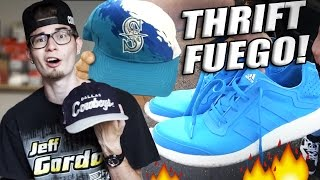 Trip to the Thrift #90 Adidas Boosts, Vintage Snapbacks, Jersey Haul!! Sneaker Heat!!