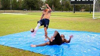 SLIP AND SLIDE FOOTBALL CHALLENGE VS D1 FOOTBALL PLAYER