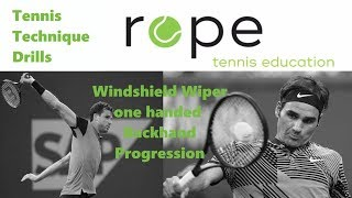 Tennis Drills - How to learn a one handed Backhand - Windshield Wiper Backhand Progression