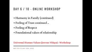 Day6 - Universal Human Values / Jeevan Vidya Online Workshop - Suman Yelati