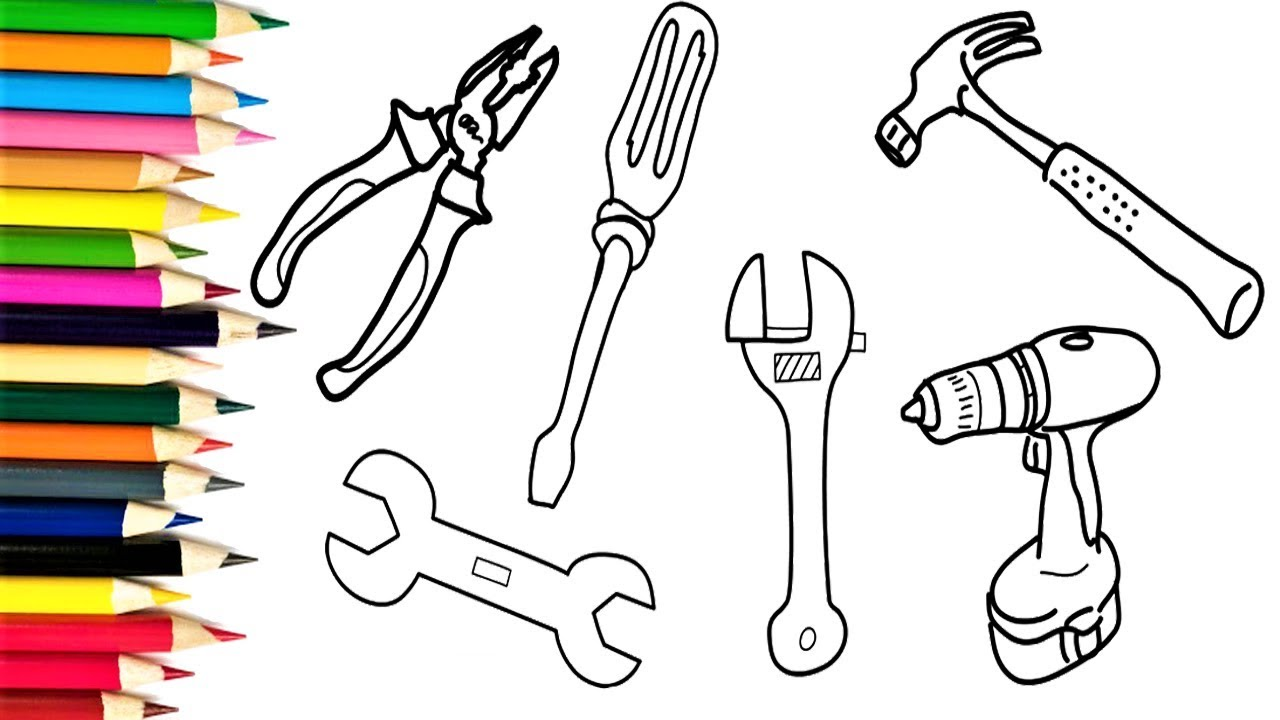 Scribble Drawing Tool : How to draw tools repair coloring pages for kids
