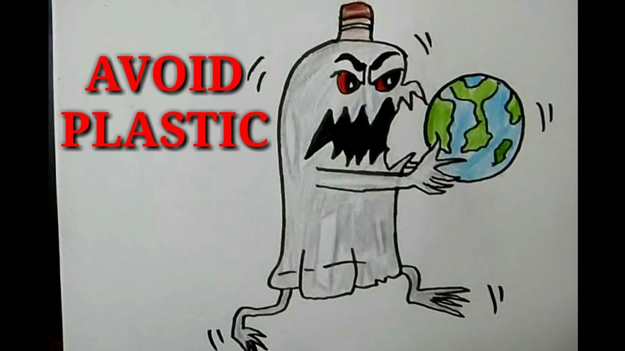 How to Draw Avoid Plastic Save Earth Poster Drawing For kids. #1