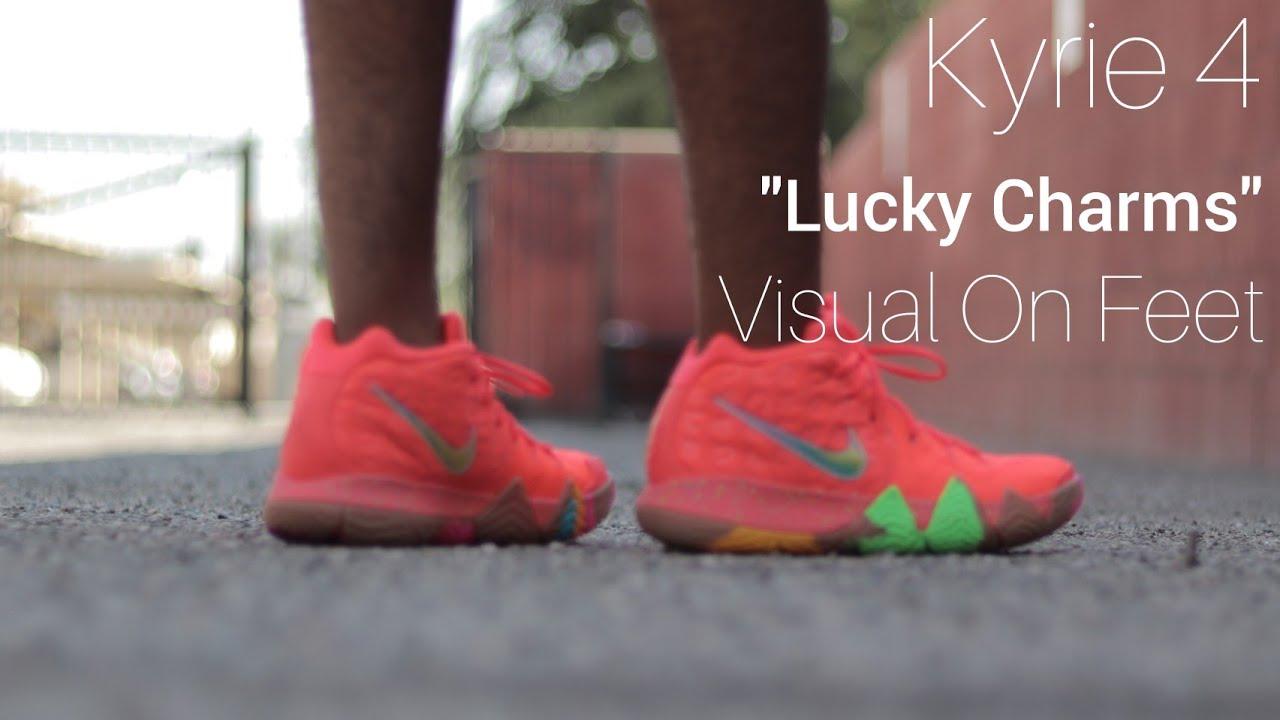 kyrie 4 lucky charms on feet