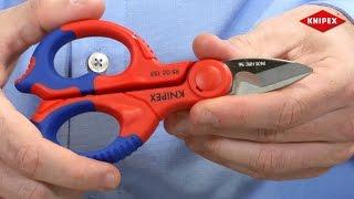 Tijeras de electricista KNIPEX (95 05 155 SB)(Filos de corte de precisión y afilados con dentado fino para un corte limpio y sin deslizamiento. Filo de corte con corta-cables. Con bolsa porta-herramientas de ..., 2015-04-14T12:49:09.000Z)