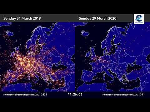 Air traffic situation over Europe - 31 March 2019 vs 29 March 2020