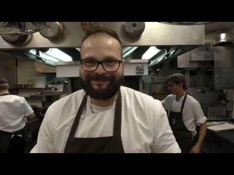 Santos prepares a mandarin dessert at the Michelin star Belcanto