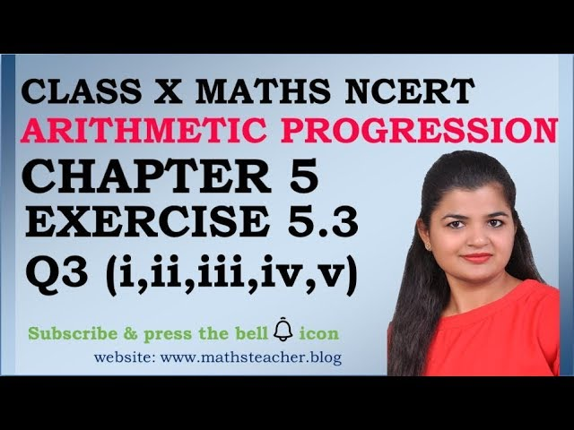 Chapter 5 Arithmetic Progression Ex 5.3 Q3(i to v) class 10 Maths