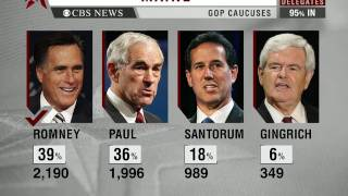 CBS Evening News with Scott Pelley - Mitt Romney wins Maine GOP caucuses