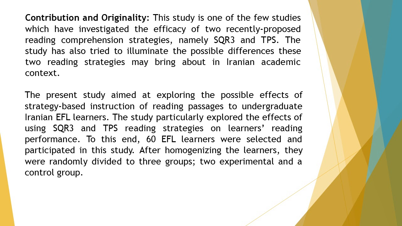 Examining The Effects Of Strategy Based Instruction Of Reading